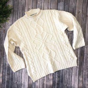 Aran Crafts Ireland Fisherman Cable Knit Sweater